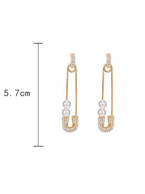Künstliche Perle Strass Papier Bolzen Ohrringe - Golden  Mobile