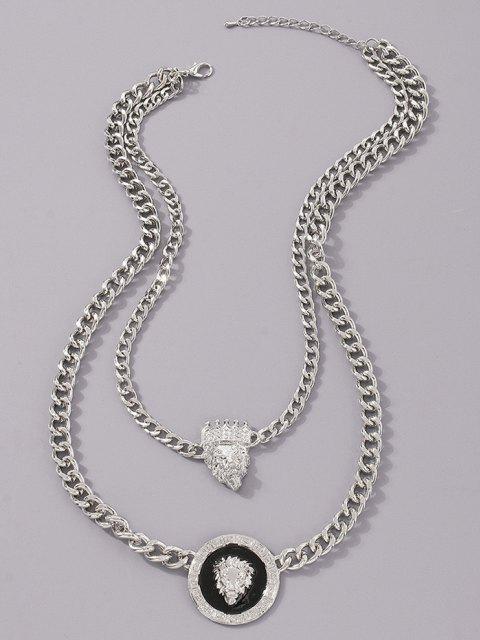 Doppelschicht Löwe Kopfdruck Krone Anhänger Halskette - Silber  Mobile