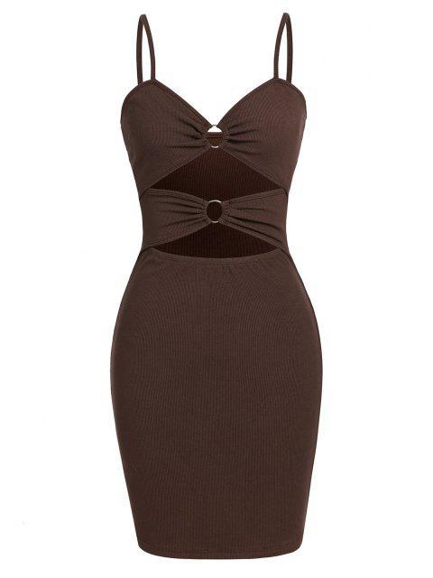 ZAFUL Geripptes Ring Cami Kleid mit Ausschnitt - Tiefkaffee S Mobile