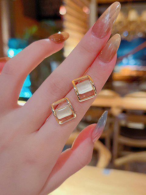 Künstliche Opal Verzierte Quadratische Ohrstecker - Golden  Mobile