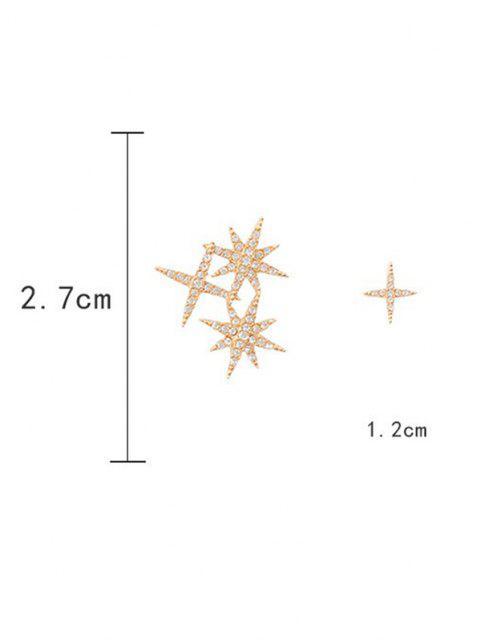 Asymmetrische Strass Intarsien Sterne Ohrstecker - Golden  Mobile