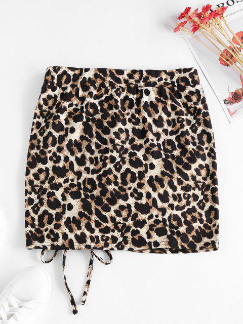 ZAFUL Mini Falda de Piel Sintética con Estampado de Leopardo - Multicolor S Mobile