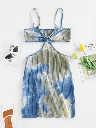 ZAFUL Ribbed Tie Dye Twisted Cutout Dress - Blue S