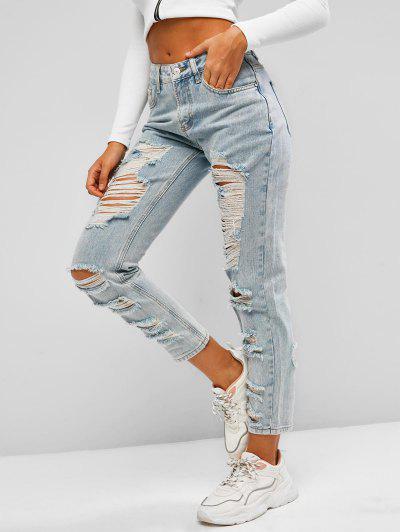 Jeans Rasgados Con Bolsillo Y Lavado Claro - Azul Claro Xs