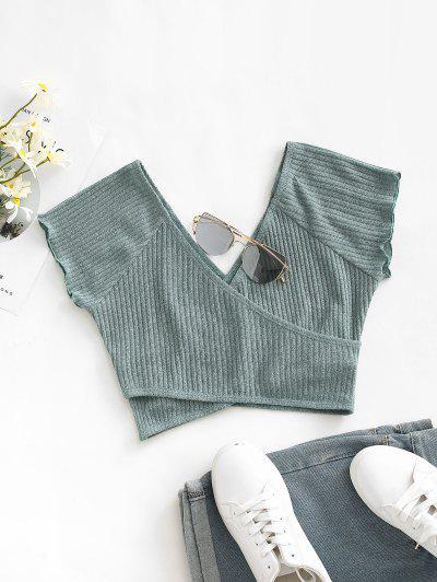 ZAFUL Raglan Sleeve Low Cut Knitted Surplice Tee - Green S