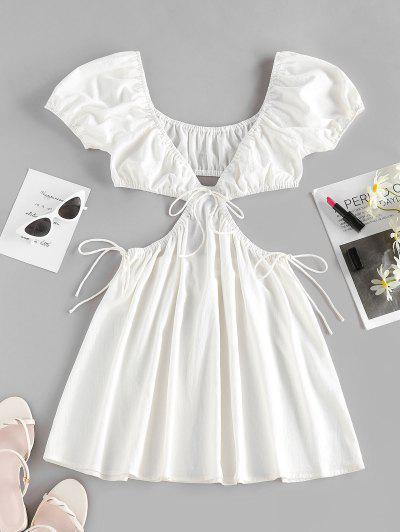 ZAFUL Gebundenes Puff Ärmel Plunge Kleid - Weiß S