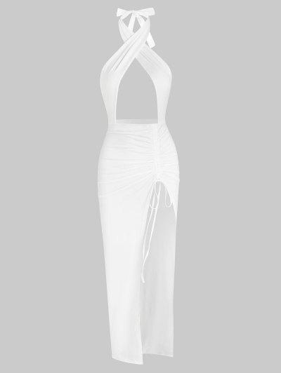 Halter Crossover Ruched Thigh-split Cutout Slinky Maxi Dress - White S