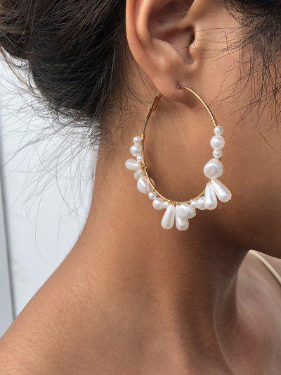 Künstliche Perle Verzierte Große Ohrring - Golden
