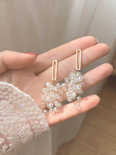 Faux Crystal Beading Silver Stud Drop Earrings - Golden
