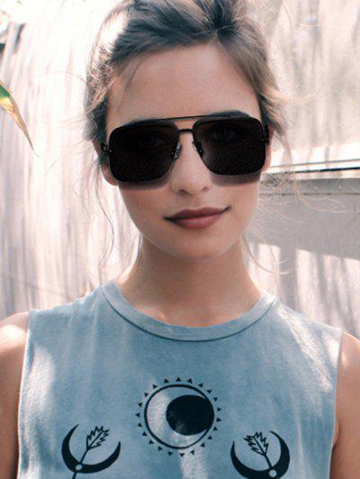 Angular Flat-Top Rimless Metal Sunglasses - Black