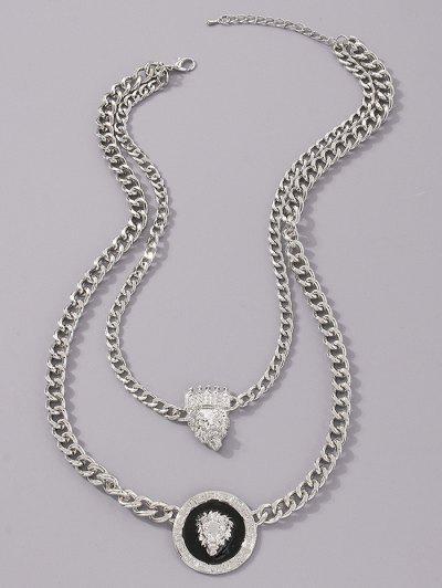 Doppelschicht Löwe Kopfdruck Krone Anhänger Halskette - Silber