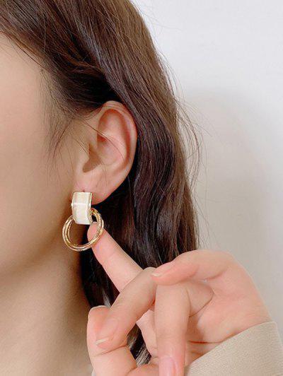 Faux Opal Circle Gold-Tone Drop Earrings - Golden