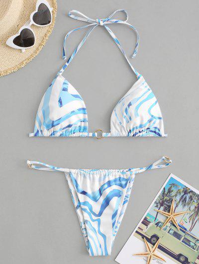 ZAFUL Water Ripple Ring Halter String Bikini Swimwear - Light Blue L