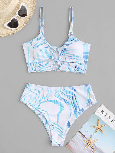 ZAFUL Water Ripple Lace Up High Cut Tankini Swimwear - Light Blue Xxl