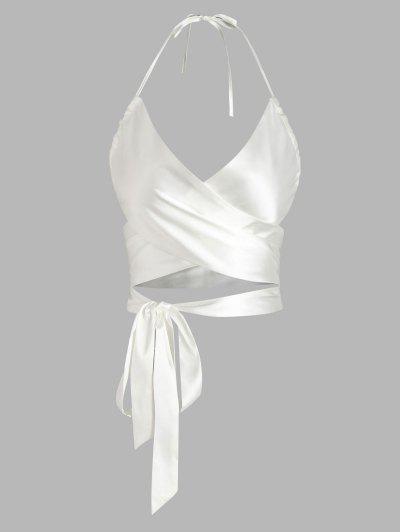 ZAFUL Criss Cross Silky Tie-around Halter Crop Top - White