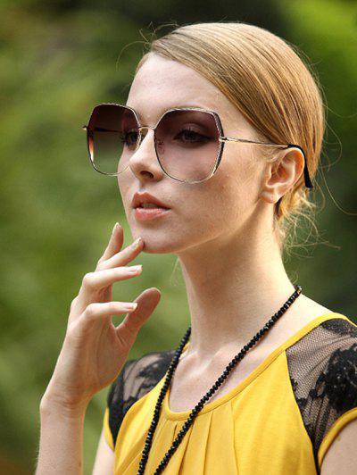 Oversize Irregular Frame Tinted Metal Sunglasses - Multi-a