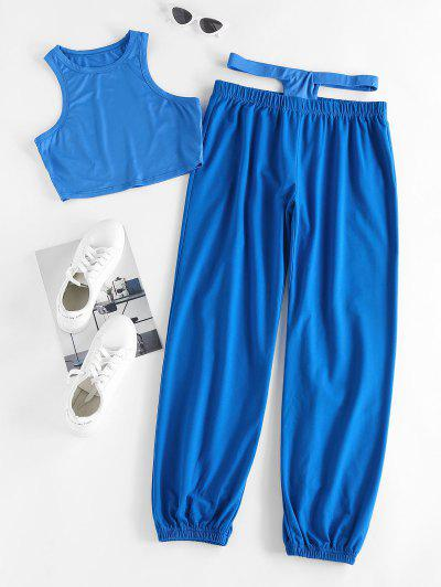 ZAFUL Crop Tank Top And Midriff Cutout Matching Pants Set - Blue Xl