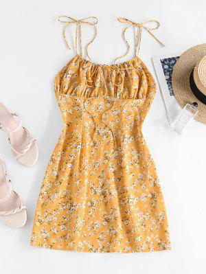 zaful ZAFUL Ditsy Floral Ruched Tie Strap Cami Dress