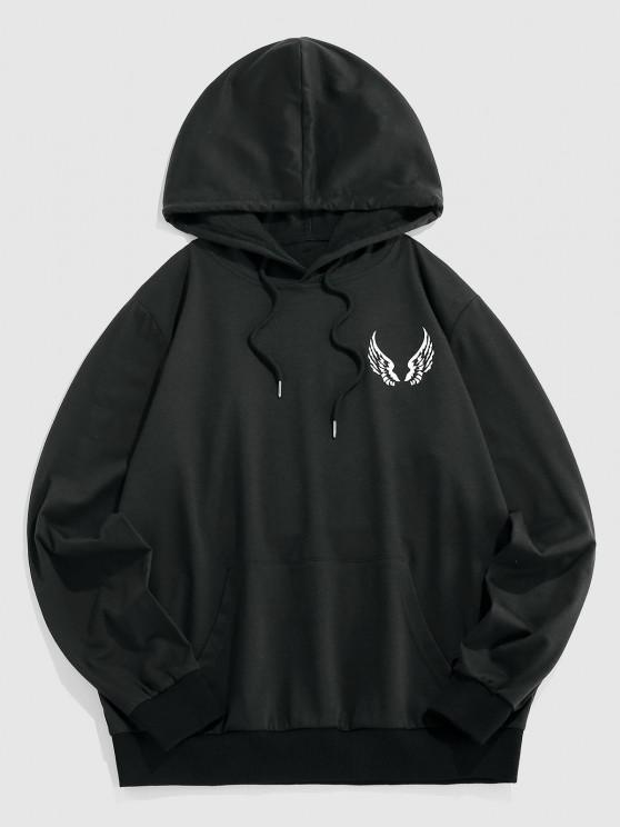 ZAFUL Wing Pattern Kangaroo Pocket Hoodie - أسود L