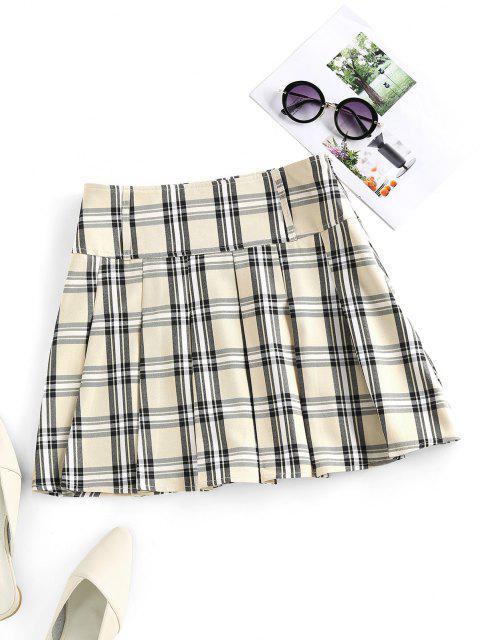 ZAFUL Mini Falda a Cuadros Plisada - café luz S Mobile