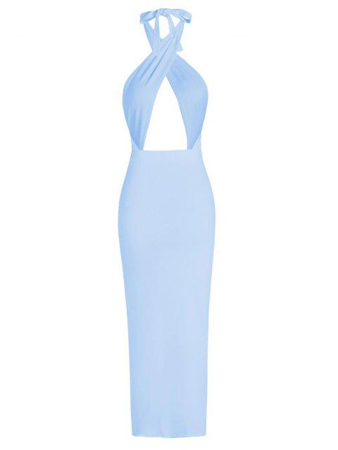 outfit Halter Crossover Ruched Thigh-split Cutout Slinky Maxi Dress - LIGHT BLUE L Mobile