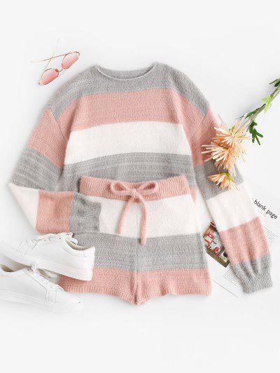 Fuzzy Colorblock Stripe Sweater And Matching Shorts Set - Light Pink M
