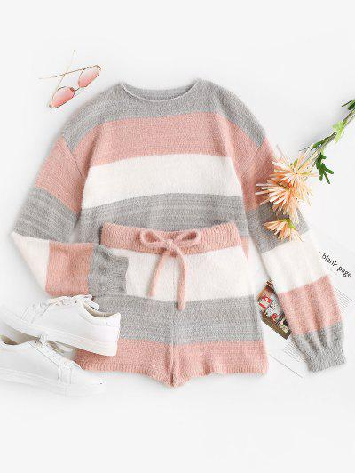 Fuzzy Colorblock Stripe Sweater And Matching Shorts Set - Light Pink S