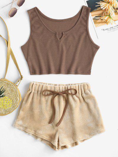 V Notch Knit Tank Top And Fluffy Shorts Set - Coffee M