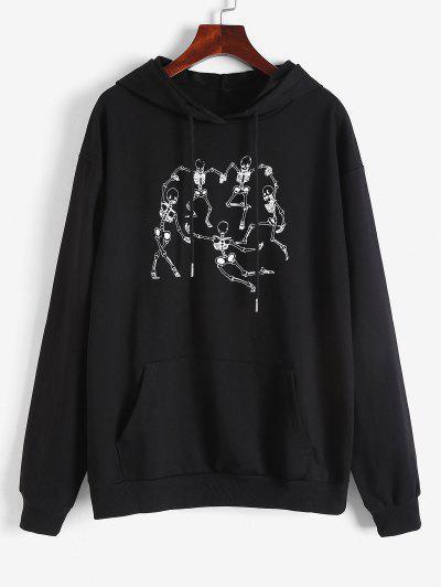 Dancing Skeleton Print Pullover Drawstring Hoodie - Black S