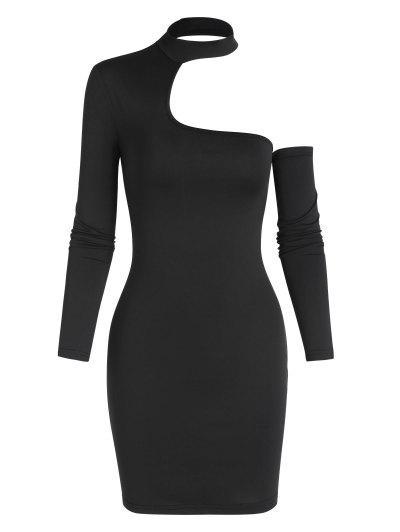 Choker Cut Out Slinky Dress - Black L