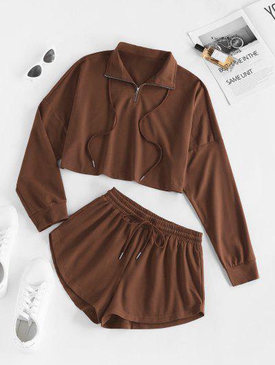 ZAFUL Zip Drop Shoulder Sweatshirt And Drawstring Shorts Set - Coffee Xl