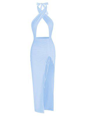 zaful Halter Crossover Ruched Thigh-split Cutout Slinky Maxi Dress