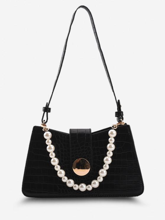 Faux Pearl Embellished Double Strap Embossed Shoulder Bag - أسود