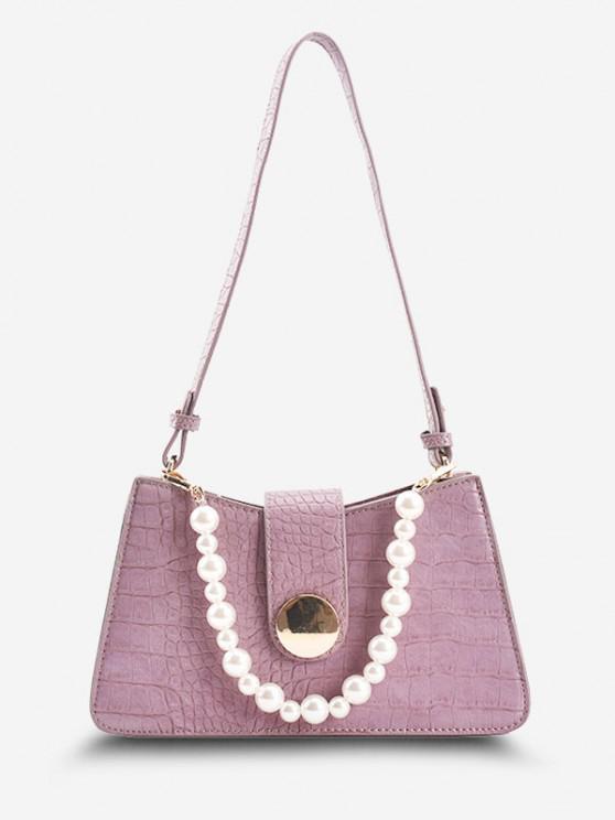 Faux Pearl Embellished Double Strap Embossed Shoulder Bag - ضوء ارجواني