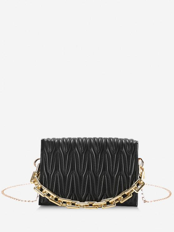 Quilted Chunky Chain Handle Flap Crossbody Bag - أسود