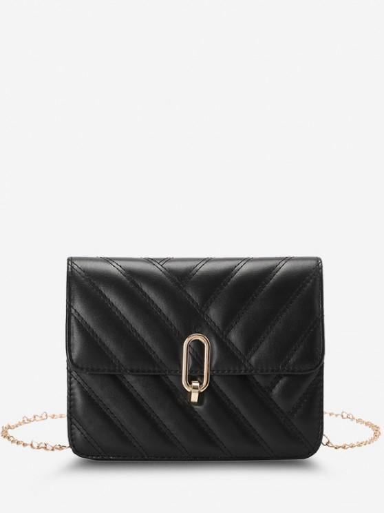 fancy Slash-Quilted Half-Chain Strap Flap Crossbody Bag - BLACK