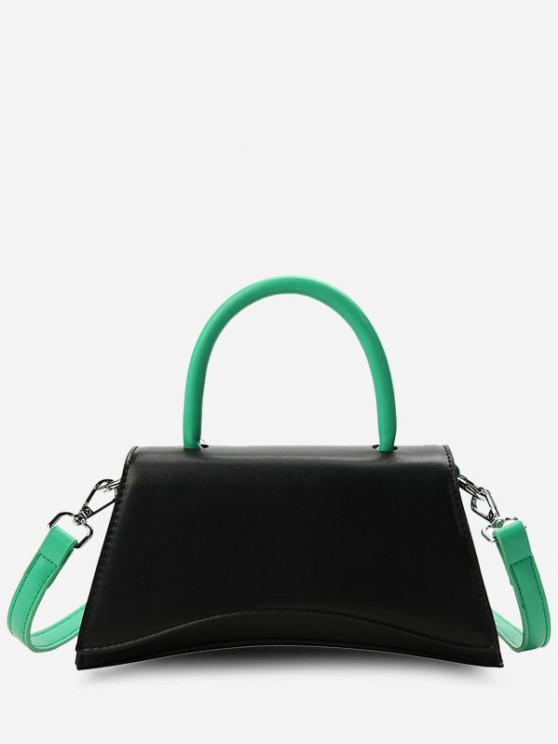Color Contrasting Top Handle Flap Crossbody Bag - أسود