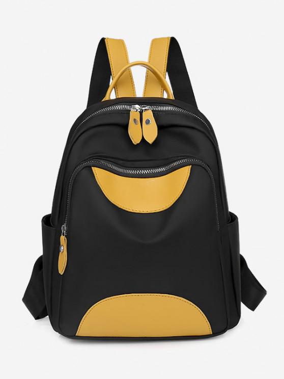 online Colorblock PU Spliced Double Compartment Backpack - BLACK