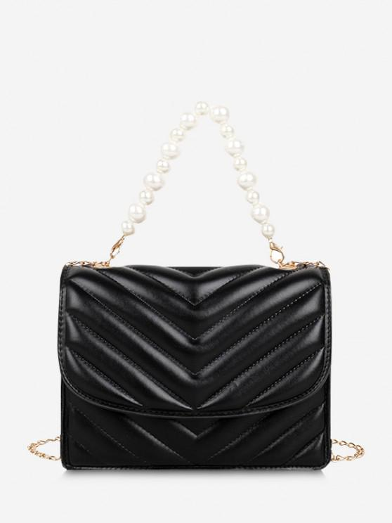 Zigzag-Quilted Faux Pearl Flap Crossbody Bag - أسود