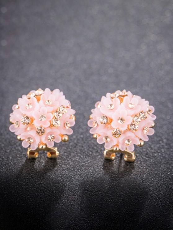 Rhinestone Resin Flower Clumps Stud Earrings - وردي فاتح