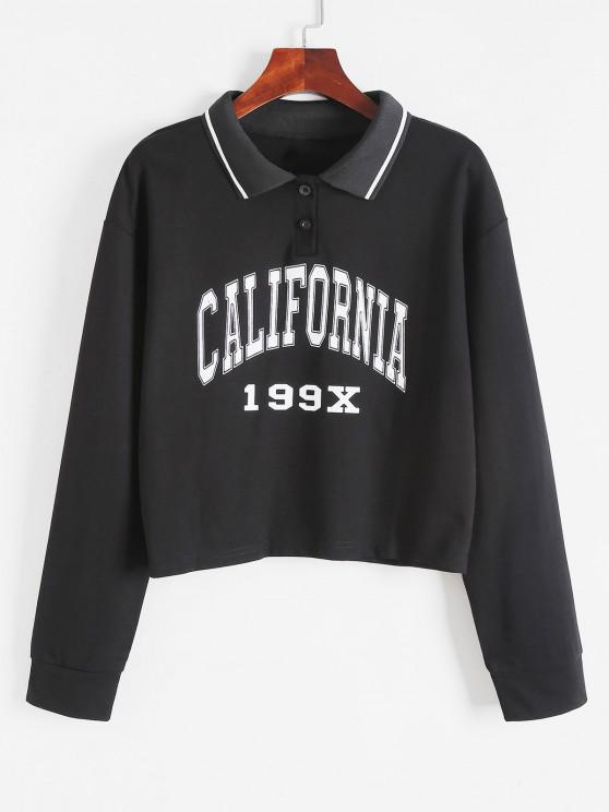 lady Turn-Down Collar Buttoned Graphic Preppy Cropped Sweatshirt - BLACK S