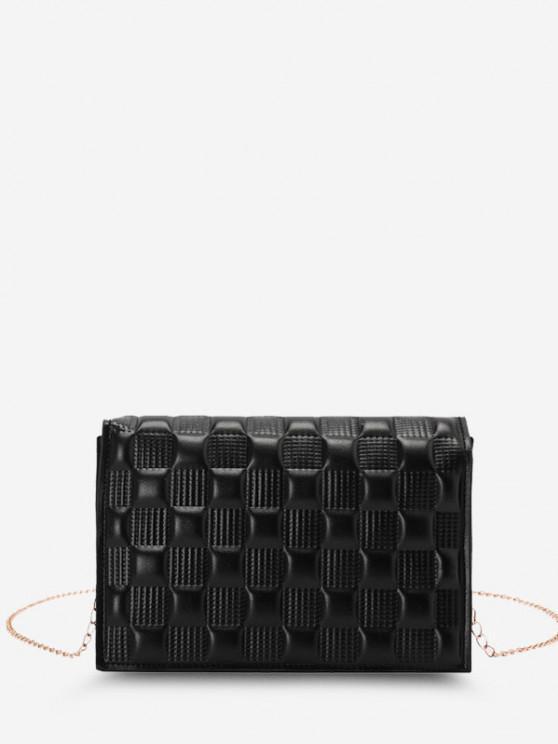 chic Square-Quilted Adjustable Chain Strap Flap Shoulder Bag - BLACK