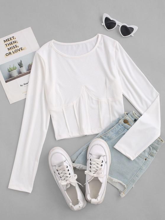 Geripptes Korsett Stil Slim T-Shirt - Weiß S