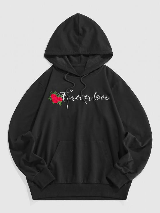 ZAFUL Embroidered Rose Pocket Hoodie - أسود L