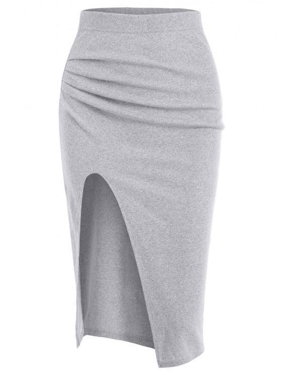 Ruched Ribbed Thigh Slit Draped Skirt - رمادي فاتح حجم واحد