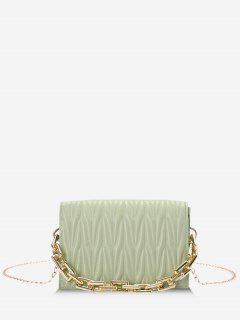 Quilted Chunky Chain Handle Flap Crossbody Bag - Light Green