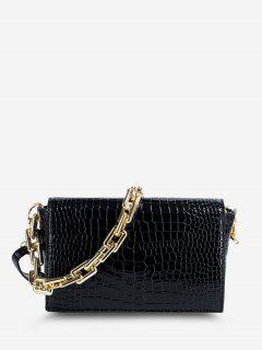 Embossed Double Strap Flap Crossbody Bag - Black