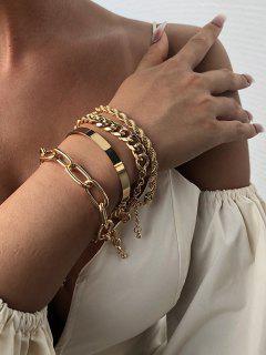 4Pcs Thick Chain Bracelet Set - Golden