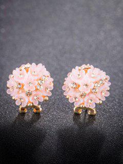 Rhinestone Resin Flower Clumps Stud Earrings - Light Pink
