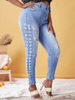Plus Size Ripped Faded Skinny Jeans - Light Blue 5x